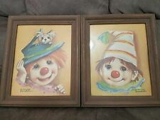 Two Rare Vintage Young Boys Clown original painting art by Dianne Dengel