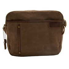 TROOP LONDON - BROWN HERITAGE MESSENGER BAG WITH TABLET POUCH IN CANVAS-LEATHER