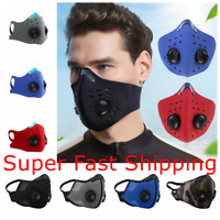 Face Mask Reusable Covering Double Valves Washable with Activated Carbon Filter