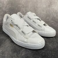 PUMA Basket White Patent Lace Up Trainers UK 6 EU 39