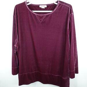 Silhouettes Womens 4x Plus Tunic Velvet Burgundy Wine Purple Velour