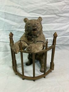 Rare bronze silvered patinated inkwell of bear standing at fence