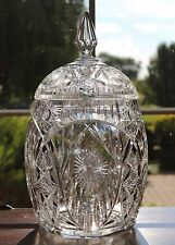 VINTAGE BOHEMIAN BRILLIANT CUT GLASS CRYSTAL COVERED PUNCH BOWL & LID