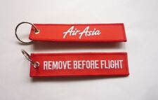 "AIR ASIA AIRLINES D7 TAG KEYCHAIN 2017 Key Chain 5"" Long REMOVE BEFORE FLIGHT"