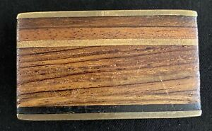 Vintage Handcrafted Kenneth Reid Brass Inlaid Exotic Wood Belt Buckle - 1970's