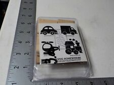 Stampin Up Going Somewhere Helicopter Train Wood Mount Rubber Stamps New A5871