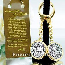 Medalla de San Benito Llavero Saint Benedict Keychain Medal Catholic Silver Key