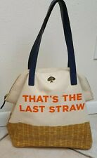 Kate Spade That's The Last Straw Canvas Tote Shopping Travel Bag