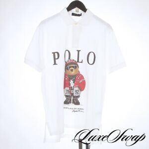 NWT Polo Ralph Lauren White Pique 1992 92 Stadium Bear Custom Polo Shirt M NR