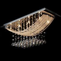 Crystal Glass Chandelier Light Bridge Wave Ceiling Light Rain Drop Pendant Light