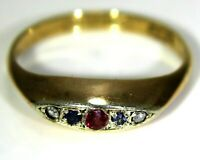 Art Deco Sapphire Diamond Ruby 9ct Rose Gold Platinum Ring K ~ 5 1/4