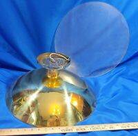 "70s Light Fixture Gold Metal Flying Saucer VTG MCM Lamp 18"" Heavy Large Visa"