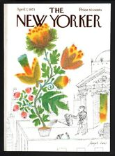 New Yorker magazine COVER ONLY  April 7 1973Joseph Low art-Flowers water