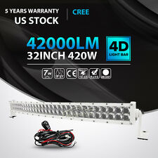 """4D 32""""INCH 420W CREE CURVED LED LIGHT BAR SPOT FLOOD OFFROAD DRIVING TRUCK WHITE"""