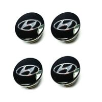 4x60mm HYUNDAI Black Wheel Center Caps Logo Emblem Badge Hub Caps Rim Caps
