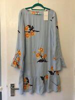 Tunic Dress size 8 NEW VILA S Floral Light Blue Floaty