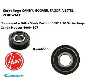 40004307, 09201204  Galet support tambour Sèche-linge Candy, Hoover