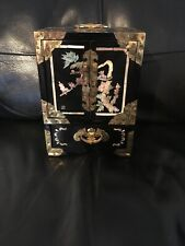 More details for chinese vintage black lacquer&inlaid mother of pearl jewellery chest box