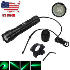 4000LM Green LED Tactical Flashlight Torch Pressure Switch 25mm Mount Gun Lamp