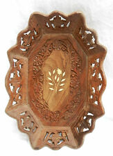 Vintage Style Indian Hand Carved Inlaid Wooden Fruit Bowl / Tray - BNWT