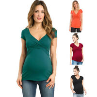 Women Maternity Clothes Short sleeve Pregnant Nursing Baby Blouse T-Shirt Top