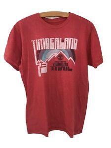 TIMBERLAND T-Shirt Men's Medium Pink Salmon White Logo