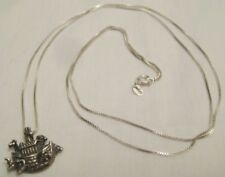 "Darling Old Sterling Silver Pendant Noah's Ark w 28"" Chain 925 1960-70s"