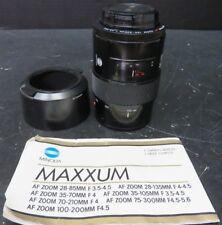 Minolta Maxxum 5000 AF (100-200mm 1:4.5) 35mm Camera Lens  w/ Manual Excellent