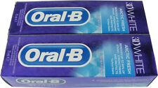 2 TUBES OF ORAL B / ORAL-B 3D WHITE TOOTHPASTE 75ML - ARCTIC FRESH - NEW