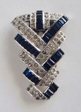 Trifari Fur CLIP Dress PIN Art Deco Blue Rhinestones Clear Crystals 1935 KTF TKF