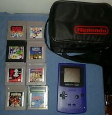 Nintendo Gameboy Color Console + 8 Games + Vintage Carry Case Bundle. GC.