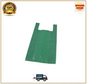 Vest Carrier Bags Green Strong Shops Stalls Supermarkets Large Jumbo Size