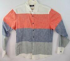 Express Mens Size Medium Dress Shirt Color Block Long Sleeve