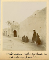 Tunisie, M'Kassen, ville du sud de la Tunisie  Vintage albumen print. Tir