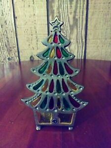 Vintage Cast Iron Stained Glass Christmas Tree Candle Holder