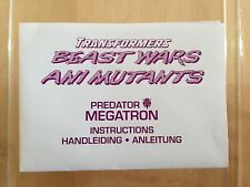 Transformers Beast Wars MEGATRON instructions book manual predator
