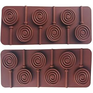 AxeSickle 2pcs Silicone Lollipop Mold DIY Mould Round Chocolate Molds And Rod.