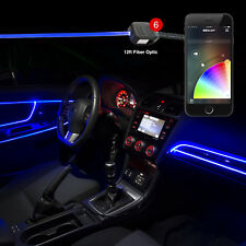 Smartphone BLE app Car Door Panel Interior 6-LED 2-6ft fiber optic light Kit