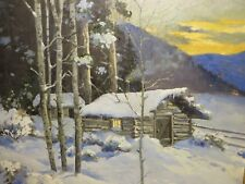 "24x22 org.1940 oil painting on canvas by Paul Gregg of ""The Colorado Snow Cabin"""