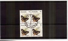 M0602sbs Australia $1 high value Butterfly used block of stamps