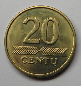 Lithuania 20 Centu 1997 Nickel-Brass KM#107 UNC