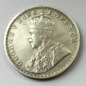 1915 ONE RUPEE INDIA-BRITISH THE EXTREMELY RARE George V Silver Rupee - BOMBAY M