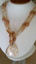 "Handmade Sterling Silver Beaded Quartz & Agate 20"" Necklace Earring Set USA"