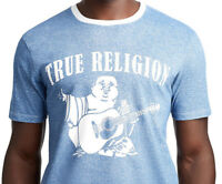 True Religion Men's Denim Print Buddha Logo Graphic Tee T-Shirt (Medium, Large)