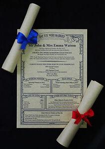 PARCHMENT SCROLL 1st 10th 20th 30th 40th 50th 60th Wedding Anniversary Gift