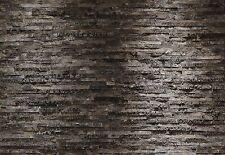 Photo Wallpaper Black & Charcoal style STONE WALL wall mural 368x254cm decor