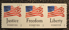 2012USA #4633-4636 Four Flags Forever Plate Number Coil Strip of 3 PNC Mint  APU