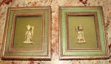 RARE ORIENTAL CARVED FIGURINES BURWOOD FRAME BOX GOD OF KNOWLEDGE GOD OF BEAUTY