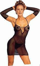 FISHNET DRESS WITH MATCHING G-STRING AND GLOVES