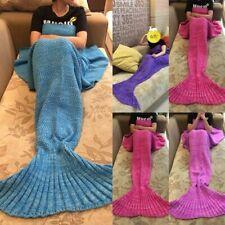 Handmade Kids Adult Mermaid Tail Warm Blanket Fish Scales Knitted Crocheted Rug